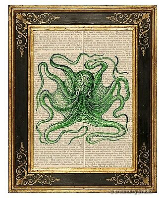Green Octopus #7 Art Print on Antique Book Page Vintage Illustration Tentacles