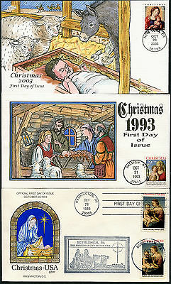 """#2026 // #3675 (6) Diff Collins Hand Painted Fdc Cachet """"christmas"""" Bp7577"""