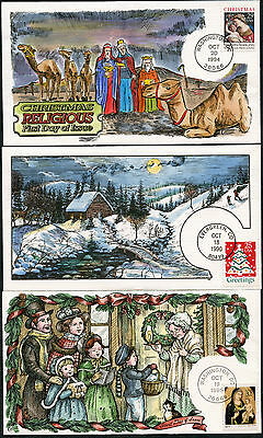"""#2399 // #3003 (5) Diff Collins Hand Painted Fdc Cachet """"christmas"""" Bp7578"""