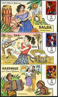 """#3939-42 """"lets Dance"""" (4) Diff Hand Painted Fdc Cachets By Collins Bp7751"""
