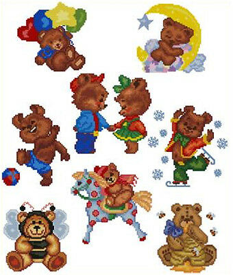 "ABC Designs 8 Teddy Bears Machine Embroidery Designs in Sross Stitch 4""x4"" hoop"