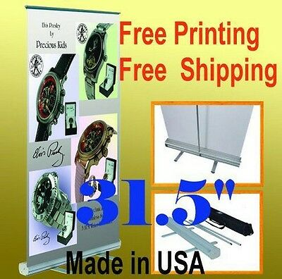 "32"" x 78"" Retractable Free Graphic Printing Roll Up Banner Stand Trade Show Pop"