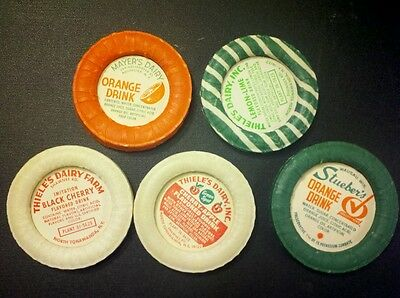 Vintage Milk Dairy Fruit Drink Caps Lids Lot of 5 new old stock free ship
