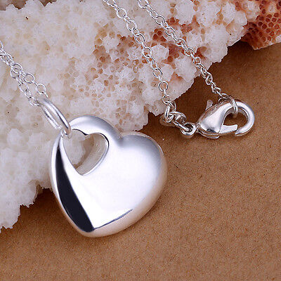 925 Sterling Silver Layered Womens Solid Heart Pendant Necklace 18''