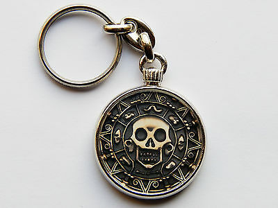 PIRATES OF THE CARIBBEAN CURSED COIN Quality Chrome Keyring Picture Both Sides!