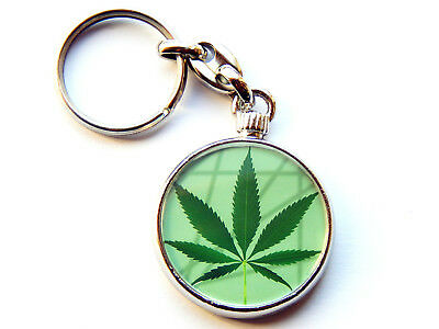MARIJUANA WEED LEAF Smoking Quality Chrome Keyring Picture Both Sides