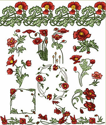 ABC Designs 13 Poppy Blossoms Machine Embroidery Designs Set 5x7- inch Hoop