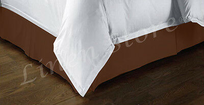"""Tailored Bed Skirt. Dust Ruffle, Pleated, 14"""" Drop, Brown Beige, Full Queen King"""