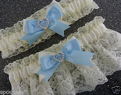 WEDDING BRIDAL BRIDE FRENCH GARTER SET SATIN LACE blue and ivory heart diamantes