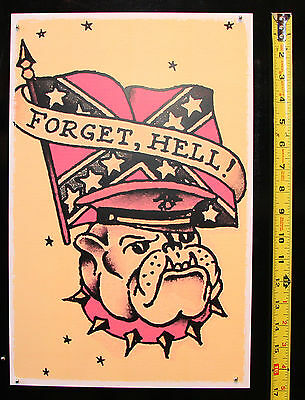 093 Confederate Bulldog USMC vintage Sailor Jerry Traditional style Flash poster