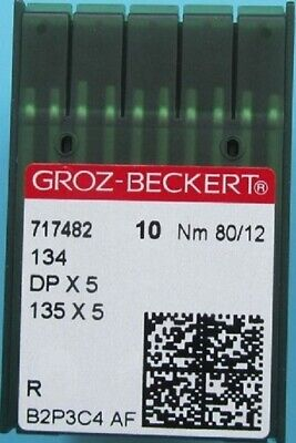 Groz Beckert Industrial Sewing Machine Needles 134R Dpx5  Size 12/80