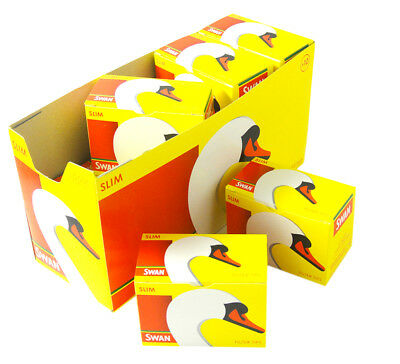 10 X Swan Slim Loose Filter Tips Packet 1650 Full Box Pre Cut Cigarette Rolling