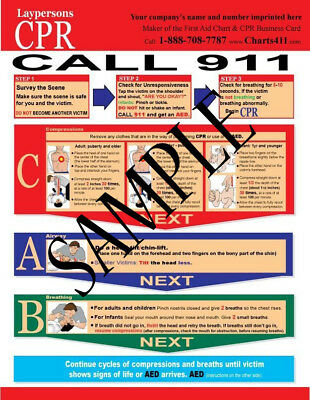 100 CPR Reference Charts for Layperson w/ Personalized Imprinting 2015 Guideline