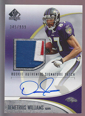 2006 SP Authentic Rookie Auto 3 CLR Patch #233 Demetrius Williams RC 345/999