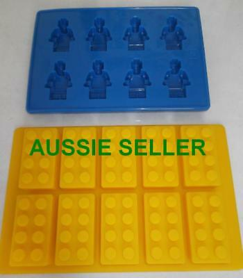 Lego Brick & Man Figure Silicone Chocolate Ice Cake Mold Mould Party Novelty FUN