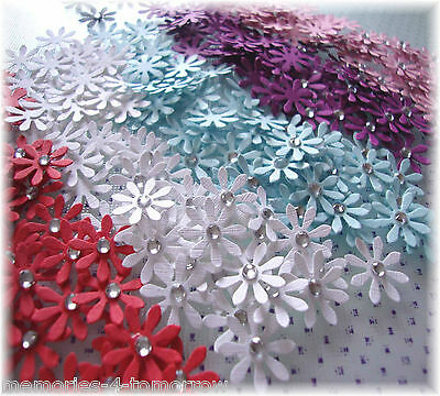 Paper Flower Daisy Embellishments, Cardmaking, Scrapbooking, Papercrafts - 15mm