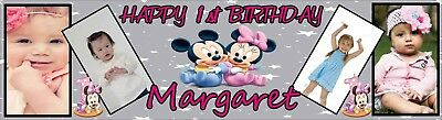 Minnie Mouse Birthday Banner Poster Personalized with your photo