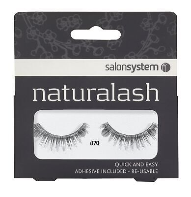 Salon System Naturalash Re-Usable Black 070 False EyeLashes Adhesive Included