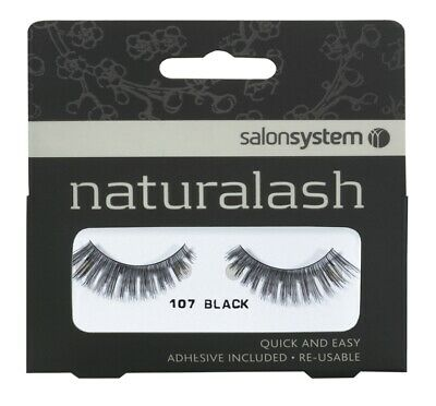 Salon System Quick Easy Re-Usable Lashes Black 107 EyeLashes Adhesive Included