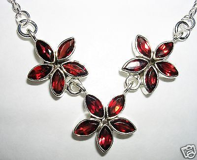 REAL GARNET TRIPLE STAR  REAL SILVER NECKLACE 16""