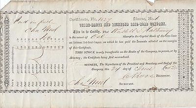 Terre Haute And Richmond Railroad Company 1850's Asst Shares Stock Certificate