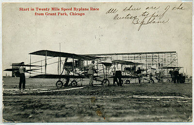 Pioneer Flt Card Featuring 20 Miles Speed Race For Bi-Planes Chicago 1912 Bp8290