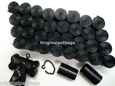 1012 DOG PET WASTE POOP BAGS SCENTED BLACK CORELESS / FREE DISPENSER.Made in USA