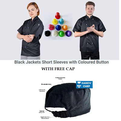 Chef Jackets Black + Free Cap - Black Chef Jackets with coloured chef buttons