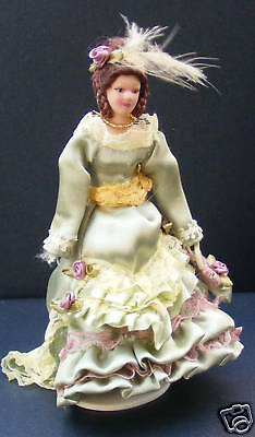 Victorian Lady In A Green Dress Dolls House Miniature B