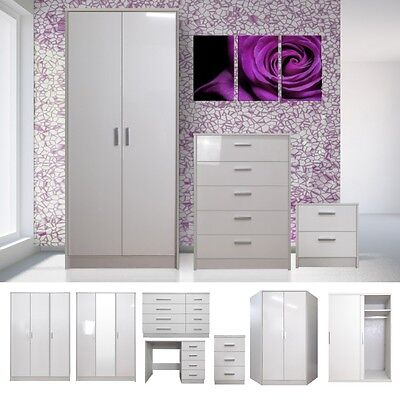 White High Gloss Bedroom Furniture Set Wardrobe, Chest, Bedside, Dressing Table