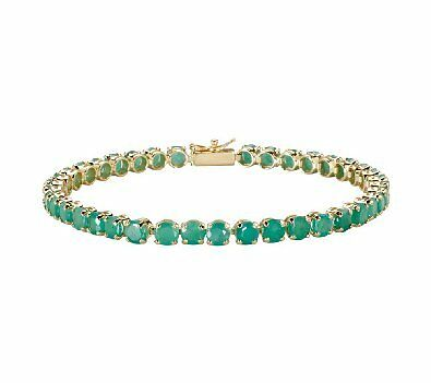 10Kt Yellow Gold Emerald Tennis Bracelet + Gift!  See Store