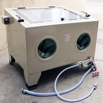 New Home Commercial Bench Top Cabinet Air Sand Blaster Sand Blast w/Spray Gun