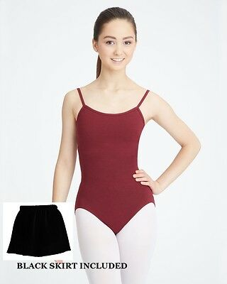 Bloch CL5407 Child XLarge (14) Burgundy Camisole Leotard Footed Tights and Skirt