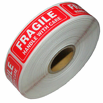 Five Roll 5000 1 x 3 FRAGILE HANDLE WITH CARE Stickers, Easy Peel and Apply