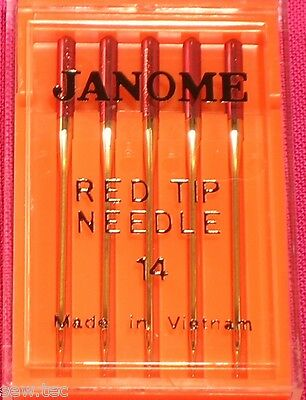 Red Tip Janome Sewing Machine Needles Size 14/90