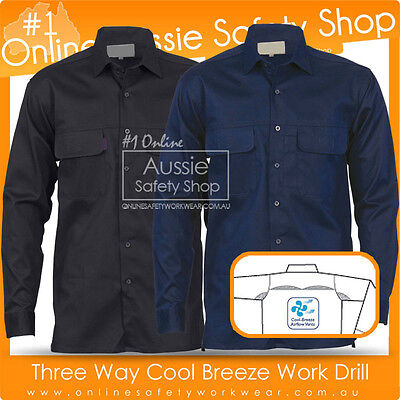 Lightweight Under Arm/Upper Back Mesh Vents Work Cool Breeze Black/Navy Shirt
