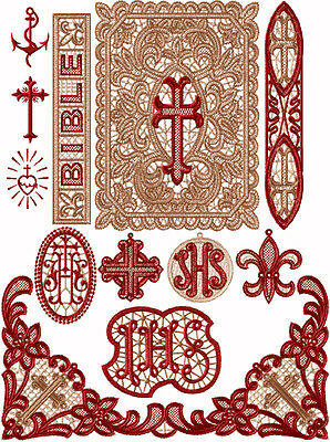 "ABC Designs Christian Bible Standalone Lace Embroidery 13 Designs SET 5""x7"" hoop"
