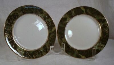 2 Aynsley Onyx Green Bread and Butter plates