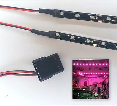 Pink Modding Pc Case Light Led Kit (Twin 15Cm Strips) Molex 40Cm Tails