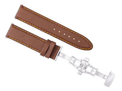24Mm Smooth Leather Strap Band Deployment Clasp For Pam 44Mm Panerai L/brown Ora