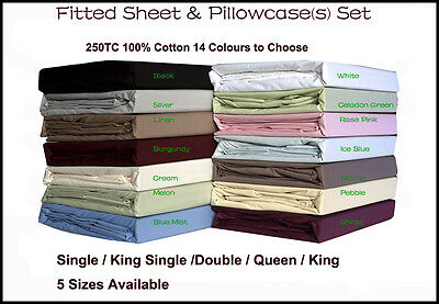 250TC 100% Cotton Fitted Sheet & Pillowcase(s) Set - 14 Colours In All Sizes