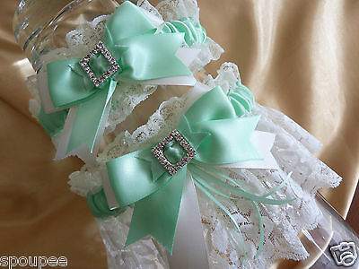 Mint Green Ivory White French Wedding Bride Garter Satin Lace Square Diamantes