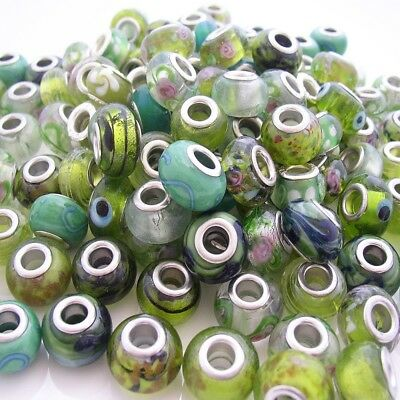 BULK x10 Mixed Green with Envy Lampwork Glass Beads fit European Charm Bracelet