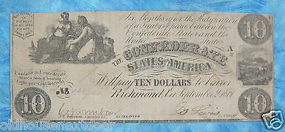 1861 Confederate $10.00 (T-28), Early 9/2/1861, Fine,  (P-53)