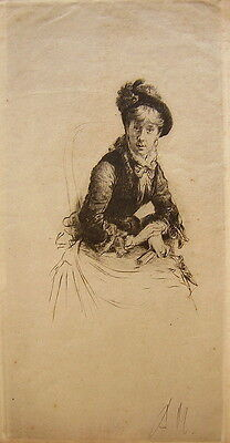 Unknown Unidentified European: Young Lady 1930's / German S/Etching Vintage