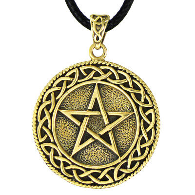 Celtic Knot Pentacle Gold Color Bronze Pendant Wiccan Pagan Knotwork Jewelry