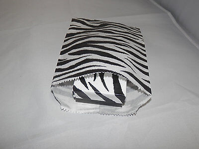 50 5x7 Zebra Bags Merchandise Flat Paper Bags, Black and White Striped Party bag