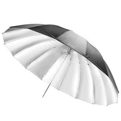 "71"" Studio Lighting Black Silver Umbrella 180cm 8mm Shaft Mega Brolly Durable"