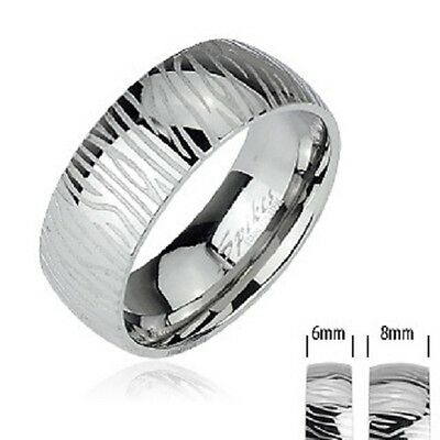New Mens Ladies 316L Stainless Steel Zebra Print Engraved Band Ring Womans (R43)