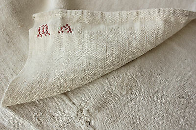 Antique French soft PALE homespun hand / kitchen  timeworn towel 18th c